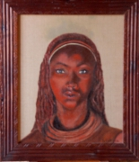 tableau personnages femme namibie terre rouge : femme namibienne